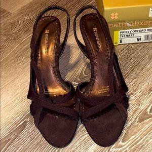 Dressy brown satin strappy heels